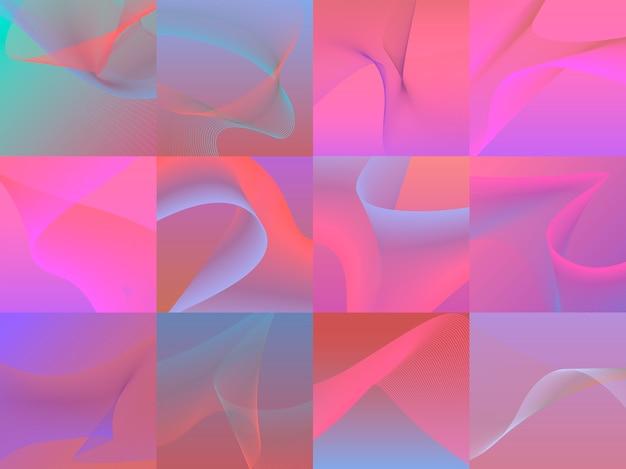 Zestaw kolorowych tętniących życiem grafiki 3d fal