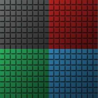 Zestaw kolorowych tłów na stronę, baner lub plakat z kwadratami unoszącymi się w powietrzu i rzucającymi cień.