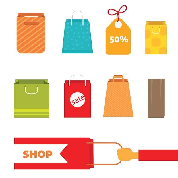 Zestaw kolorowych toreb na zakupy. idealny na twoją stronę internetową lub projekt na wakacje. eps10