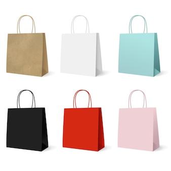 Zestaw kolorowych toreb papierowych na prezent