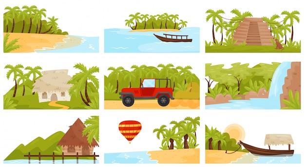 Zestaw kolorowych tropikalnych krajobrazów. wyspa z palmami, piaszczysta plaża, małe domki i wodospad