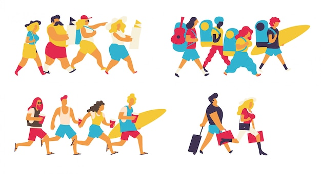 Zestaw kolorowych turystów