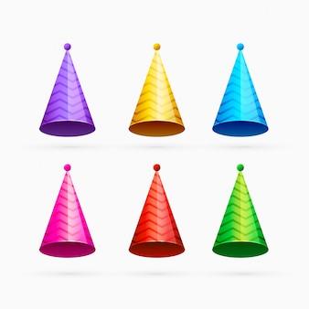 Zestaw kolorowych uroczystości lub czapki z okazji urodzin