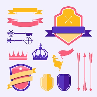 Zestaw kolorowych wektorów ozdoba etykiety