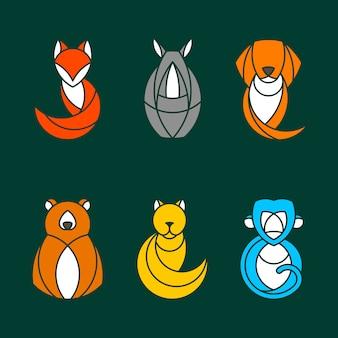 Zestaw kolorowych wektorów zwierząt