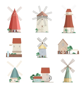 Zestaw kolorowych wiatraków i młynów wodnych różnych typów - fartuch, wieża, młyny pocztowe na białym tle. budynki rolnicze z obrotowymi żaglami. ilustracja wektorowa w stylu płaski.