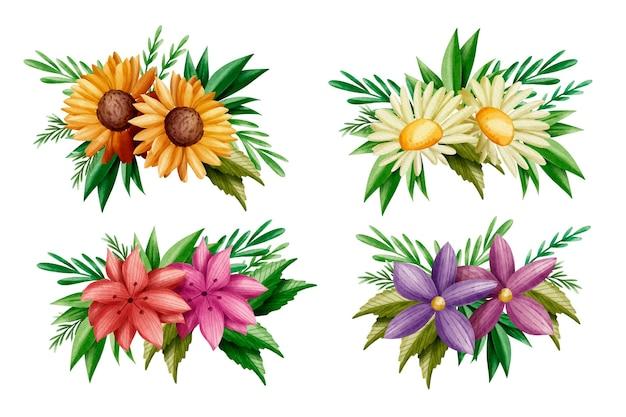 Zestaw kolorowych wiosennych kwiatów i liści