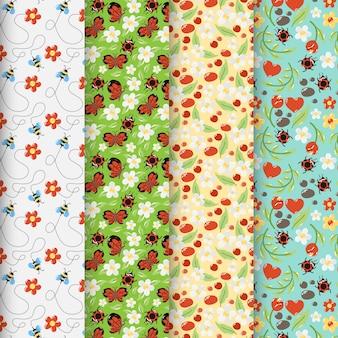 Zestaw kolorowych wiosennych wzorów