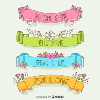 Zestaw kolorowych wiosna wstążka