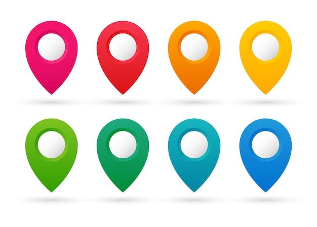Zestaw kolorowych wskazówek. zbiór znaczników mapy. pinezki na mapie.