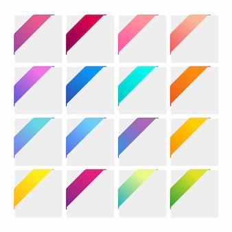 Zestaw kolorowych wstążek narożnych.