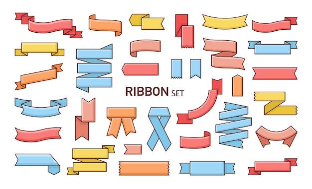 Zestaw kolorowych wstążek o różnych kształtach.