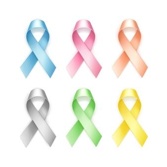 Zestaw kolorowych wstążek raka piersi na białym tle