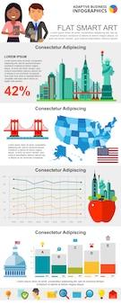 Zestaw kolorowych wykresów infograficznych