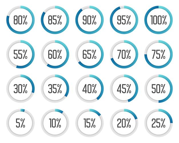 Zestaw kolorowych wykresów kołowych. zbieranie niebieskich wykresów procentowych