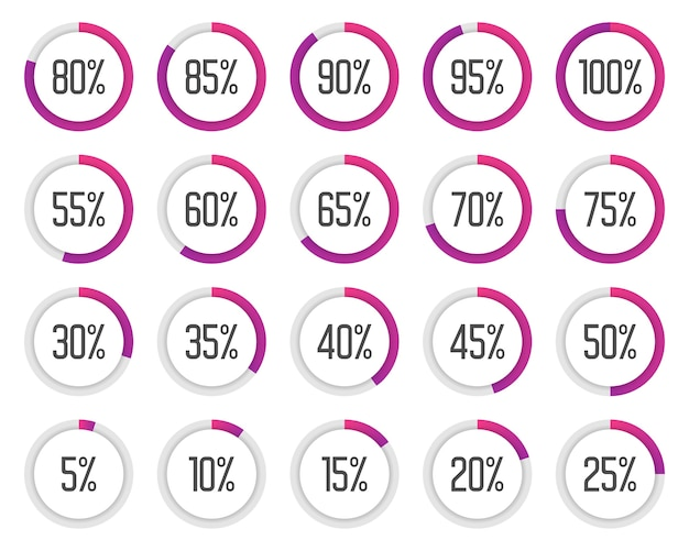 Zestaw kolorowych wykresów kołowych. zbiór fioletowych diagramów procentowych