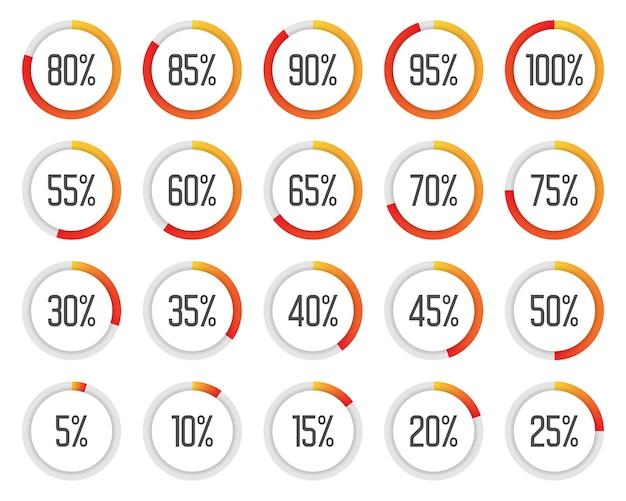 Zestaw kolorowych wykresów kołowych. zbiór pomarańczowych i czerwonych diagramów procentowych