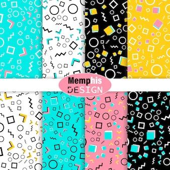 Zestaw kolorowych wzorów bez szwu doodle.
