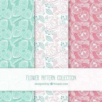 Zestaw kolorowych wzorów kwiatów w stylu wyciągnąć rękę
