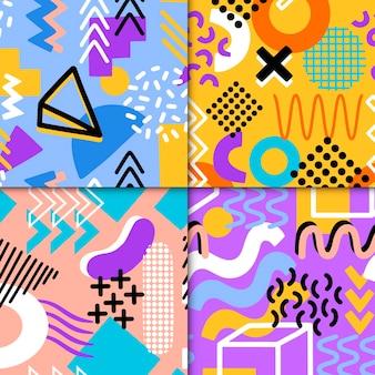 Zestaw kolorowych wzorów memphis