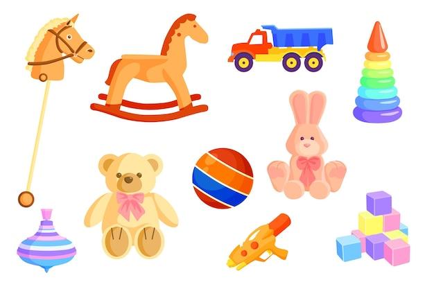 Zestaw Kolorowych Zabawek Dla Niemowląt Darmowych Wektorów