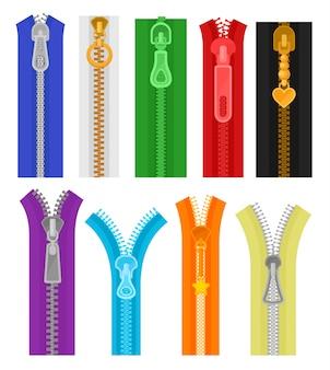 Zestaw kolorowych zamków na ubrania i torby. zamknięte i otwarte zamki błyskawiczne. materiały do szycia