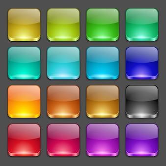 Zestaw kolorowych zaokrąglonych kwadratowych szklanych przycisków
