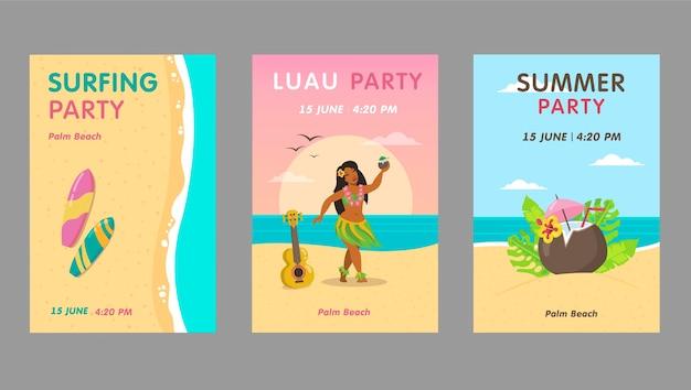 Zestaw kolorowych zaproszeń na przyjęcie luau. jasne hawajskie zaproszenia na imprezy z tekstem. koncepcja wakacje i lato na hawajach. szablon ulotki, banera lub ulotki