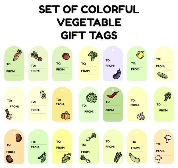 Zestaw kolorowych znaczników prezentów warzywnych