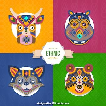 Zestaw kolorowych zwierząt etnicznych