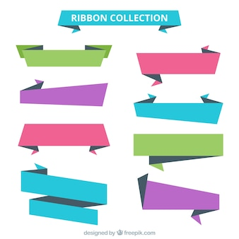 Zestaw kolorowymi wstążkami origami
