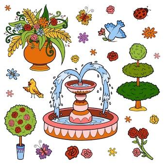 Zestaw kolorystyczny obiektów z ogrodu królewskiego. wektor kreskówka fontanna, kwiaty, krzewy dla księżniczki