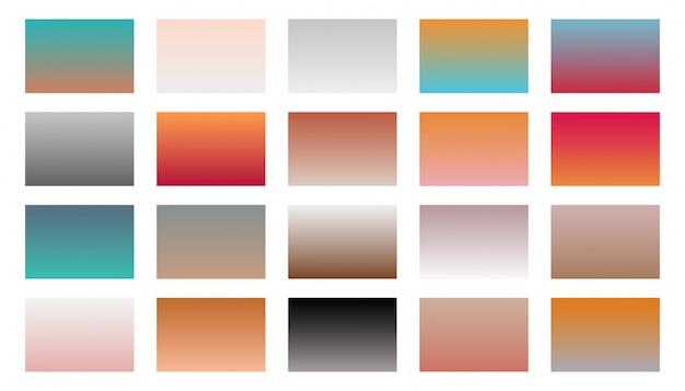 Zestaw kombinacji ciepłych odcieni gradientu