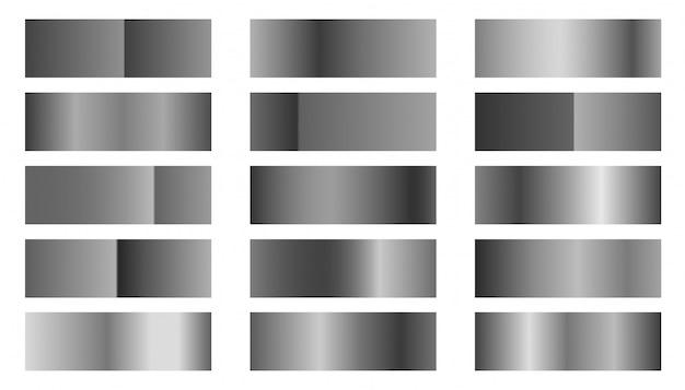 Zestaw kombinacji gradientów srebra metalicznego lub platyny