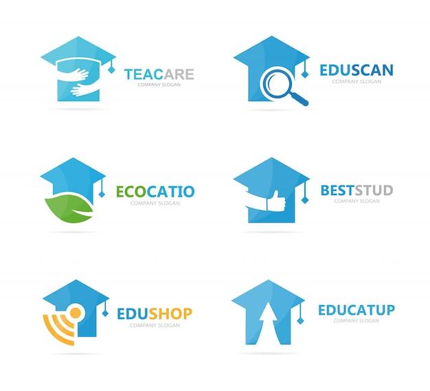Zestaw kombinacji logo absolwenta kapelusza. szablon projektu logo szkoły i uczelni.