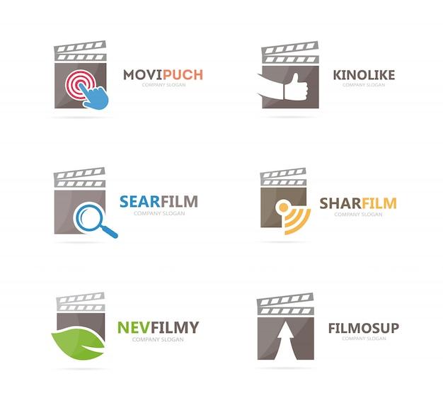 Zestaw kombinacji logo clapperboard. szablon projektu logotypu filmu i kina.