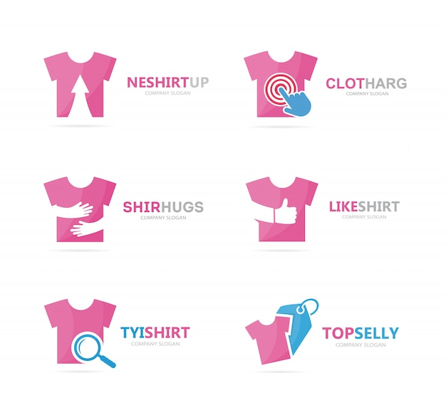 Zestaw kombinacji logo koszulki. szablon projektu logo odzież i tkaniny.