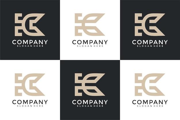 Zestaw kombinacji monogramów litery k i logo litery c