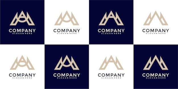 Zestaw kombinacji monogramów litery m i litery logo