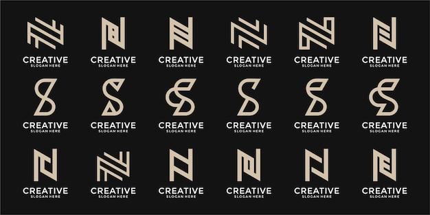 Zestaw kombinacji monogramów litery n i logo litery s