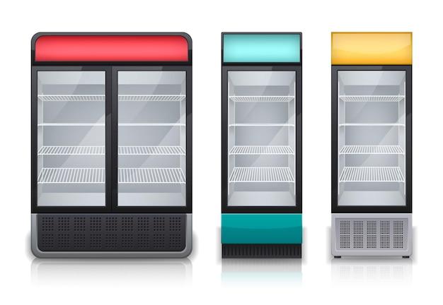 Zestaw komercyjnych lodówek do napojów