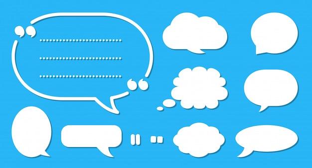 Zestaw komiks dymek. kreskówka puste pole tekstowe chmury. różne kształty streszczenie ikona płaskie puste bąbelki. szablon balonu wiadomość komiks