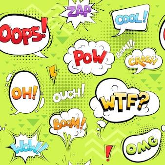 Zestaw komiksów pęcherzyków. kreskówka eksploduje kształty koła rozmowa dźwięki