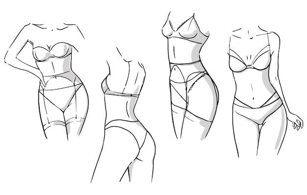 Zestaw kompletów bielizny, kobiety noszące bieliznę wektor szkic