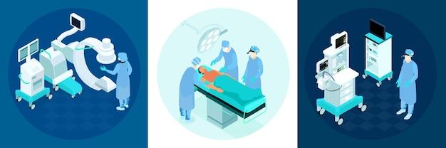 Zestaw kompozycji izometrycznych sali operacyjnej