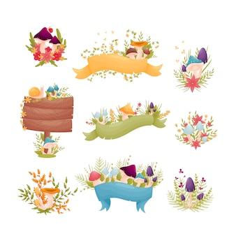 Zestaw kompozycji kolorowych grzybów z kwiatami i liśćmi.