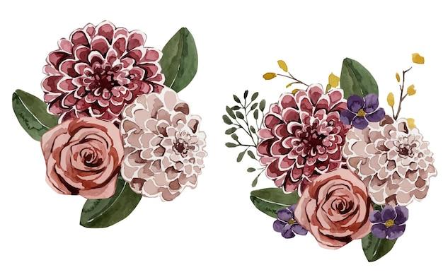 Zestaw kompozycji kwiatowych akwarela na białym tle