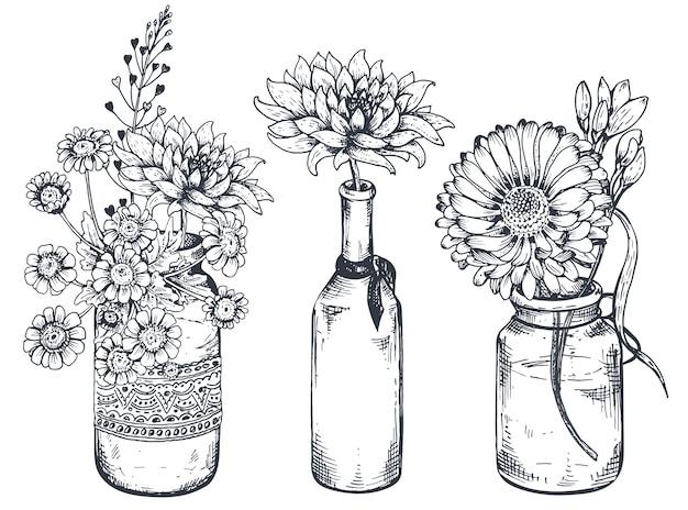 Zestaw kompozycji kwiatowych. bukiety z ręcznie rysowanymi kwiatami i roślinami w wazonach i słoikach. ilustracje monochromatyczne w stylu szkicu.