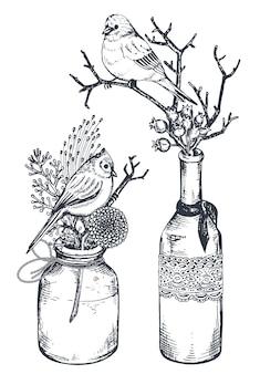 Zestaw kompozycji kwiatowych. bukiety z ręcznie rysowanymi kwiatami, roślinami i ptakami w wazonach i słoikach.