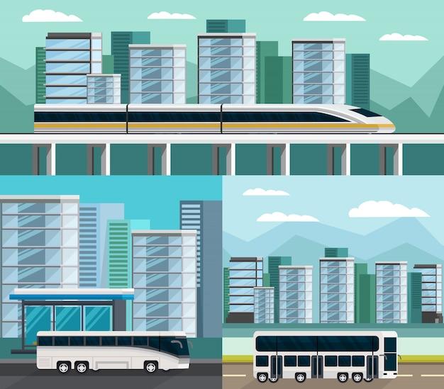 Zestaw kompozycji ortogonalnych transportu publicznego